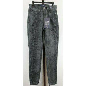 YMI Juniors Ladies Reptile Print High Rise Jeans 1
